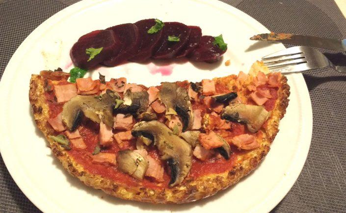 Pizza sans gluten au chou-fleur