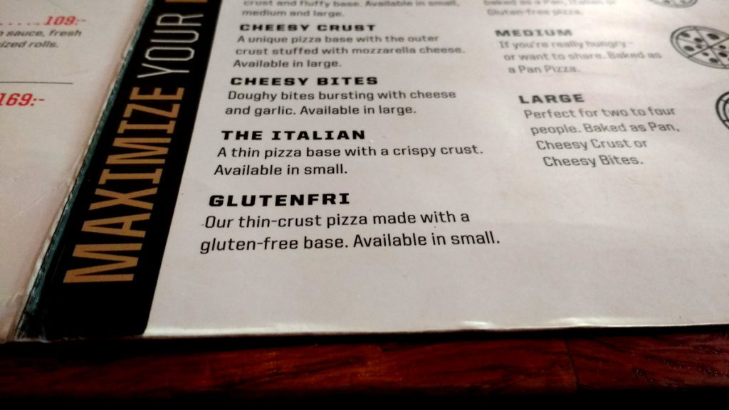 Pizza Hut sans gluten en Suède